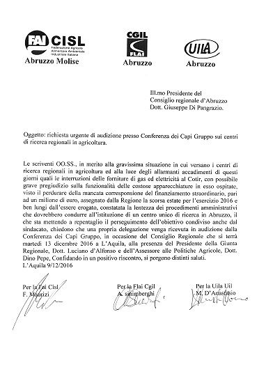 Centri di ricerca Abruzzo, sindacati chiedono incontro urgente in Regione