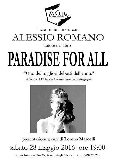 Roseto, Alessio Romano presenta 'Paradise for all'