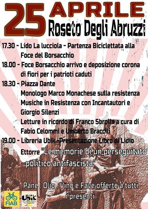 Roseto, ricorrenza 25 aprile: manifestazione in ricordo di Franco Sbrolla