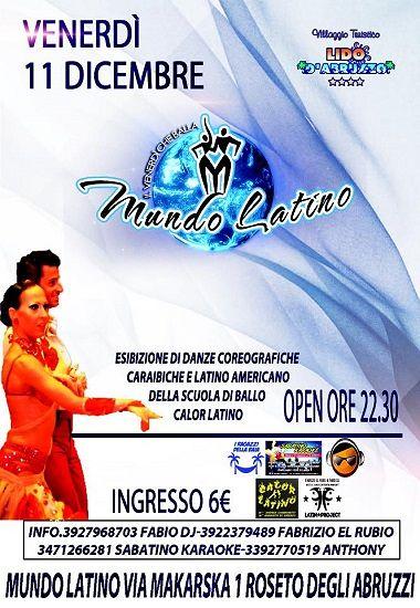 I Ragazzi della Baia e Sabatino Karaoke presentano Mundo Latino – 11 dicembre- Lido d'Abruzzo | Roseto