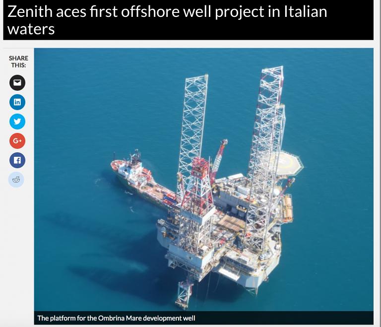 Ombrina Mare, multinazionale inglese chiede danni milionari all'Italia