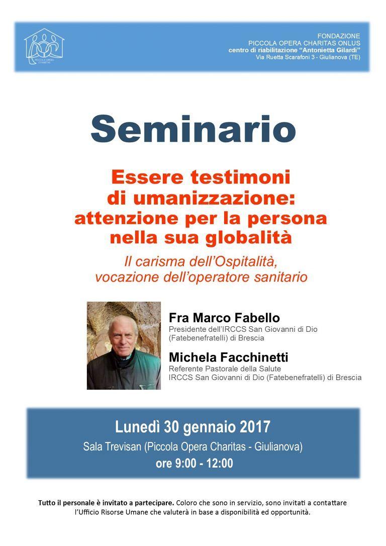 Giulianova, seminario sull'ospitalità alla Piccola Opera Charitas