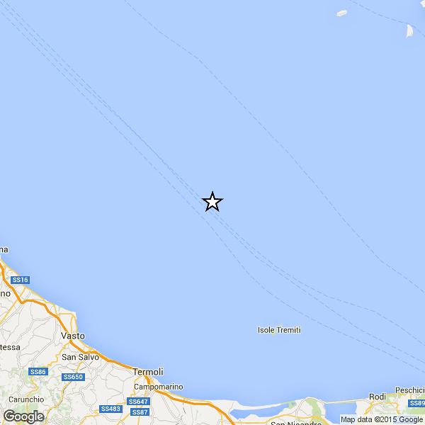 Scosse di terremoto in mare, sciame sismico tra Abruzzo e Molise