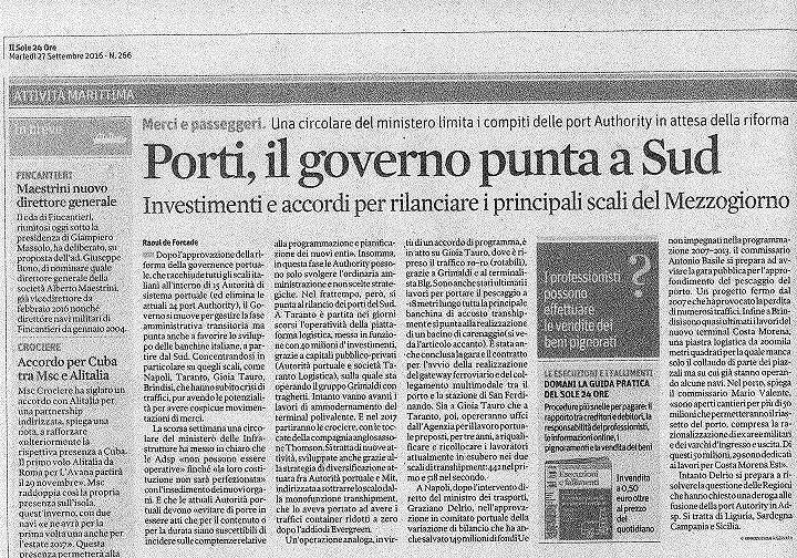 Autorità portuali, Forza Italia Abruzzo: 'Governo va da una parte, Regione dall'altra'