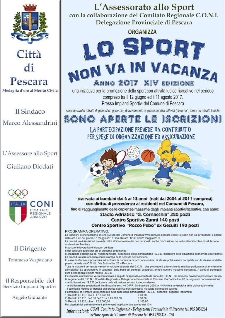 Pescara, oltre 1000 ragazzi iscritti a 'Lo sport non va in vacanza'