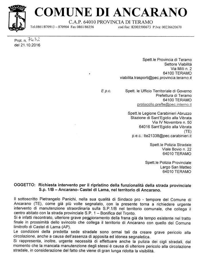 """Ancarano, Panichi scrive alla Provincia: le """"nostre"""" strade dimenticate"""