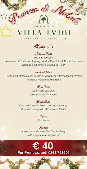 Il menù del PRANZO DI NATALE dell'Hotel Villa Luigi| Villa Rosa di Martinsicuro