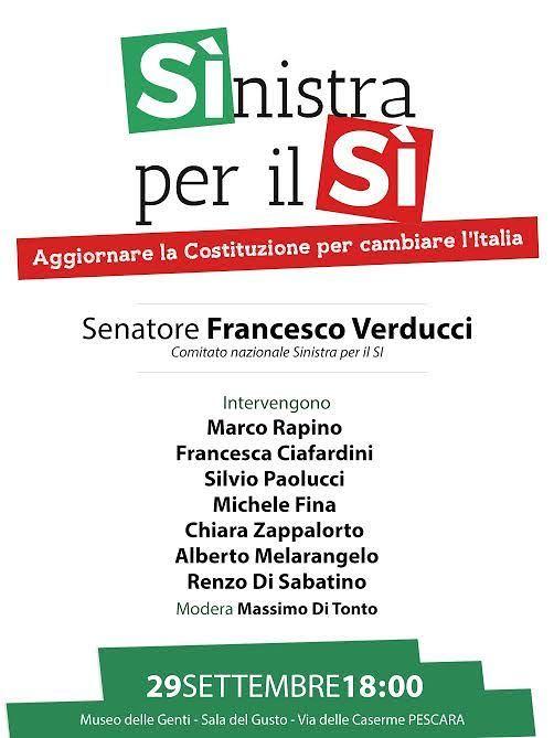 Pescara, referendum costituzionali: dibattito con Francesco Verducci