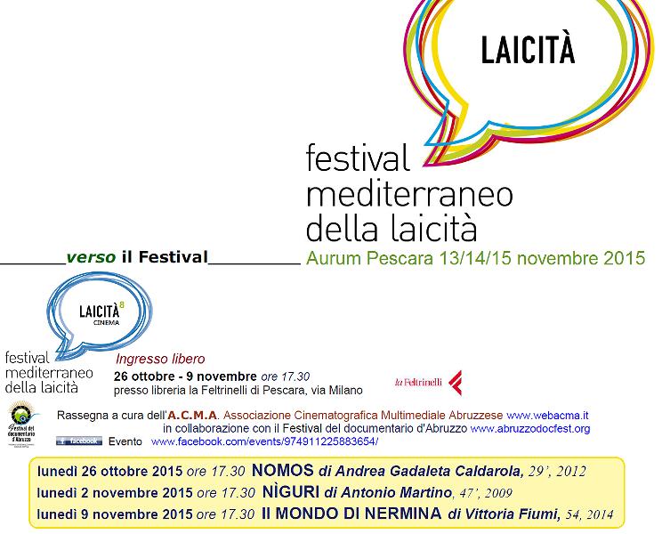 Pescara, mini rassegna cinematografica: tre serate di anteprima al Festival della laicità