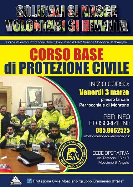 Mosciano, 'solidali si nasce-volontari si diventa': corso base di Protezione Civile