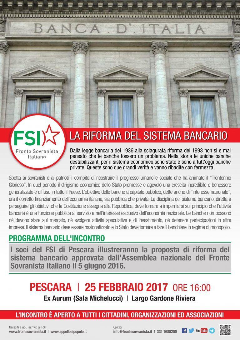 Pescara, il convegno di Fsi sulla riforma del sistema bancario