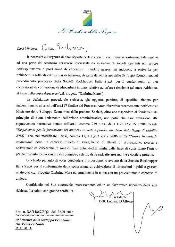 D'Alfonso scrive al Ministro Guidi: 'no definitivo ad Ombrina Mare' LA LETTERA
