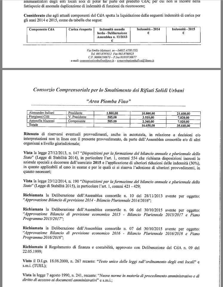 Consorzio Piomba-Fino, pagate le indennità ai componenti del CdA: scoppia la polemica