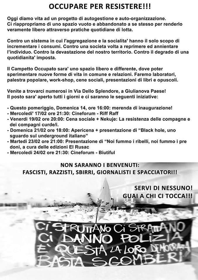 Giulianova, anarchici occupano campo del Castorani: scoppia la polemica