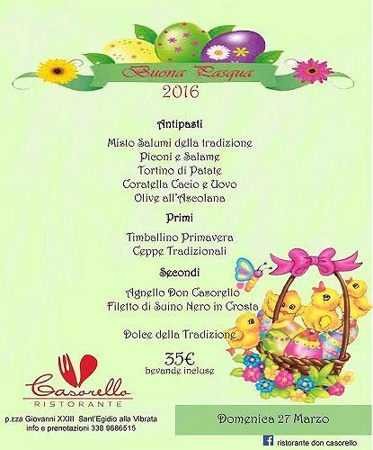 Il menù di Pasqua del Ristorante Don Casorello – Domenica 27 marzo| Sant'Egidio alla Vibrata