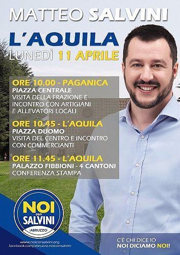 Ricostruzione L'Aquila, in arrivo Salvini per verificare lo stato dei lavori