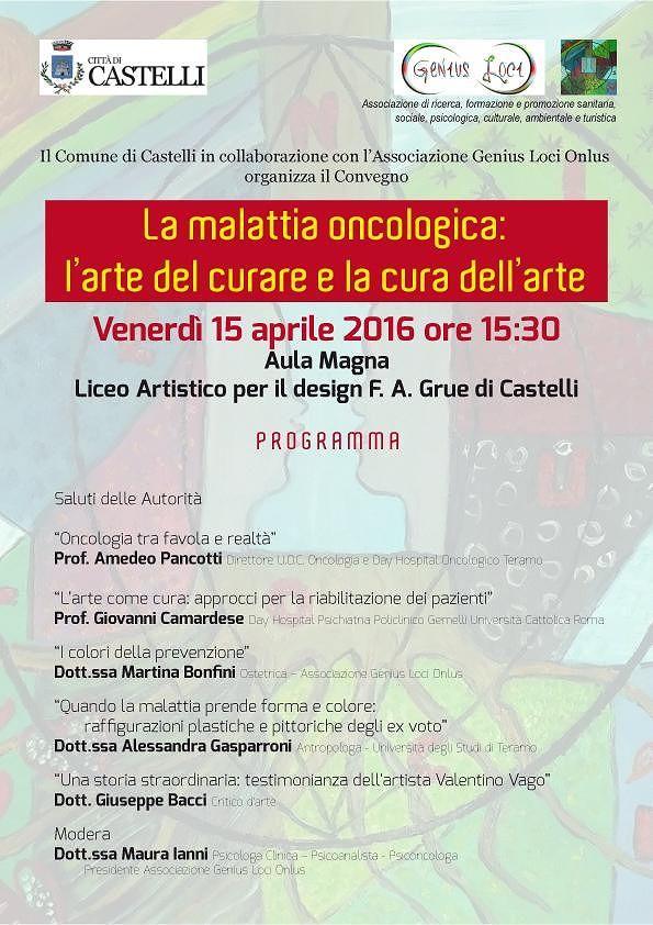 Malattia oncologica, tra cura e arte: convegno a Castelli