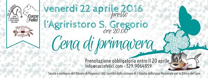 Lega del Cane L'Aquila organizza la Cena di Primavera a sostegno dei randagi