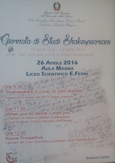 Sulmona, il liceo scientifico 'Fermi' omaggia Shakespeare