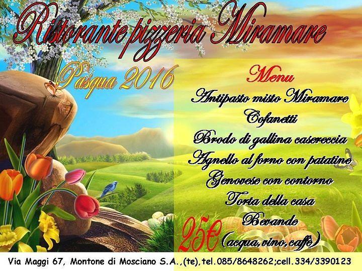 Il menù del Pranzo di Pasqua al Ristorante Miramare| Montone di Mosciano Sant'angelo