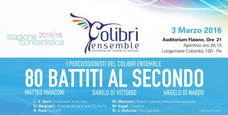 Pescara, i tre percussionisti del Colibrì Ensemble in concerto all'Auditorium Flaiano