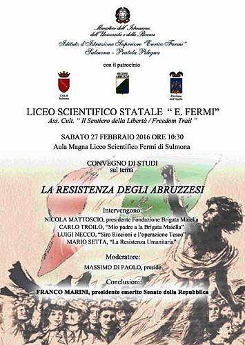 Sulmona, 'La Resistenza degli Abruzzesi': convegno con Franco Marini