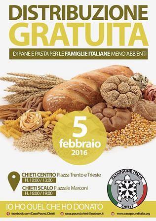 Chieti, CasaPound organizza distribuzione gratuita di pane e pasta agli italiani in difficoltà
