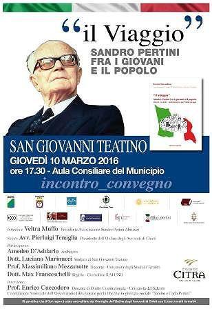 'Sandro Pertini  e i giovani'. Meeting a San Giovanni Teatino