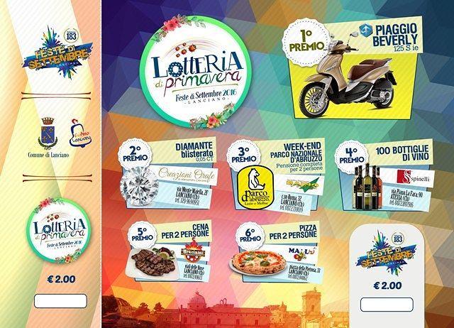 Lanciano, Feste di Settembre: al via Lotteria di Primavera con 6 premi in palio