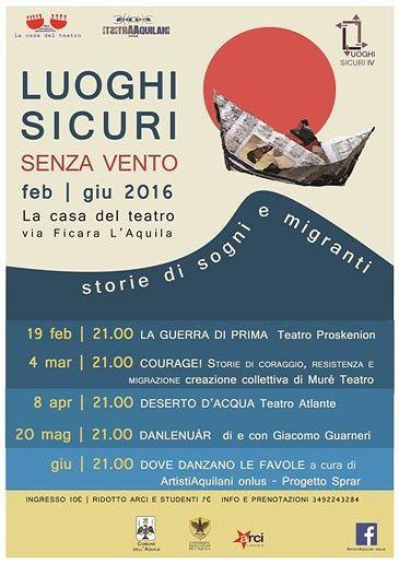 L'Aquila, al via rassegna teatrale 'Luoghi sicuri – Senza venti, storie di sogni e migranti'