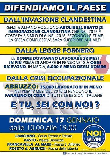 No all'abrogazione del reato di clandestinità ed alla Legge Fornero: Noi con Salvini in piazza