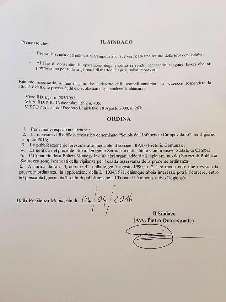 Campli, tubazioni rotte: chiuso per un giorno l'asilo di Campovalano