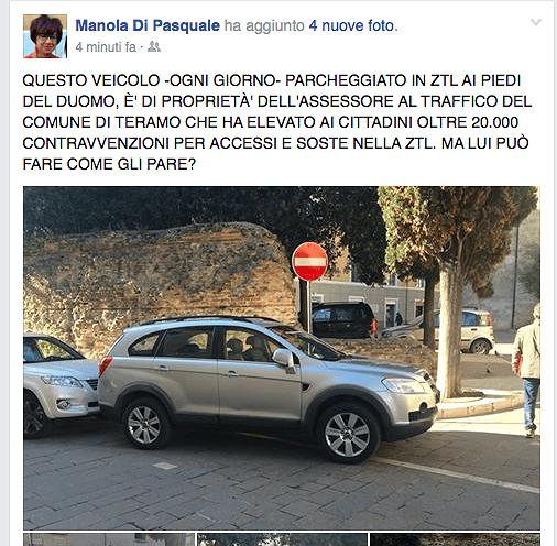 """Teramo, Di Pasquale: """"L'assessore può parcheggiare in divieto?"""" FOTO"""