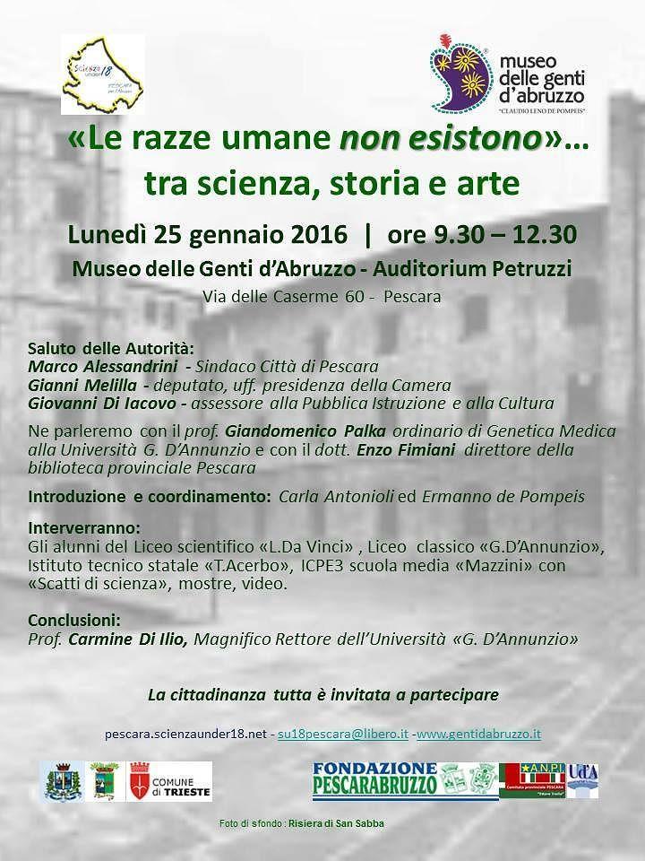 Pescara, al via il simposio 'Le razze umane non esistono'