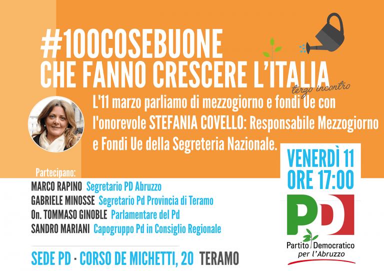Teramo, Stefania Covello (Pd) in città per parlare di rilancio del Mezzogiorno