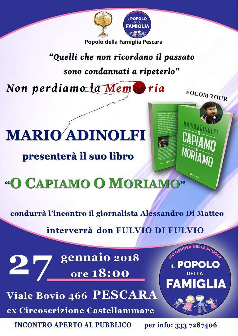 Pescara, Mario Adinolfi presenta 'O capiamo o moriamo'