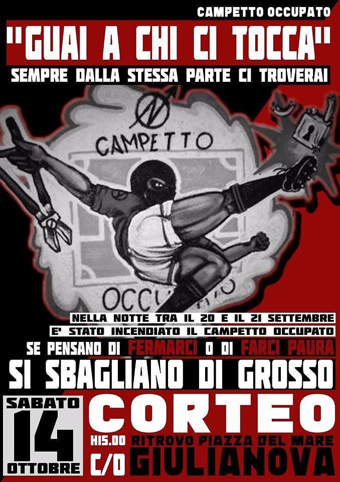 Giulianova, corteo degli anarchici dopo l'incendio al campetto occupato VIDEO