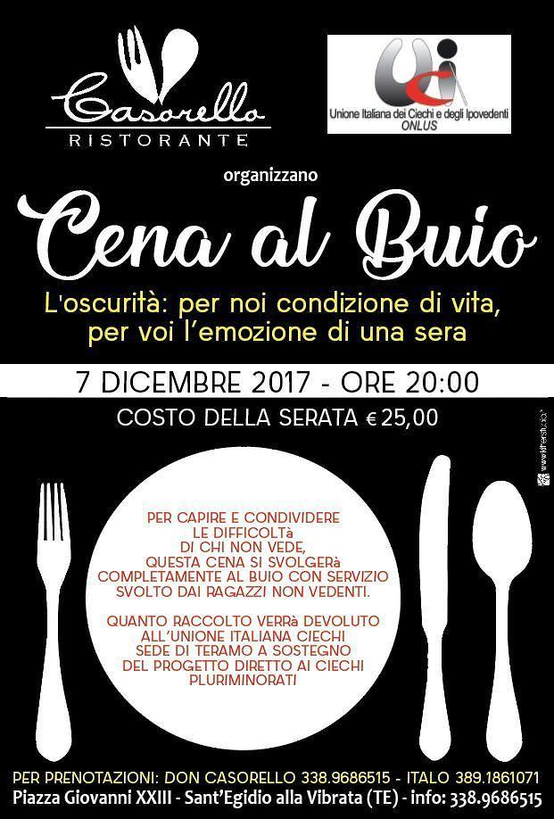 Ristorante Don Casorello e Unione Italiana Ciechi e Ipovedenti organizzano Cena al buio giovedì 7 dicembre|Sant'Egidio alla Vibrata