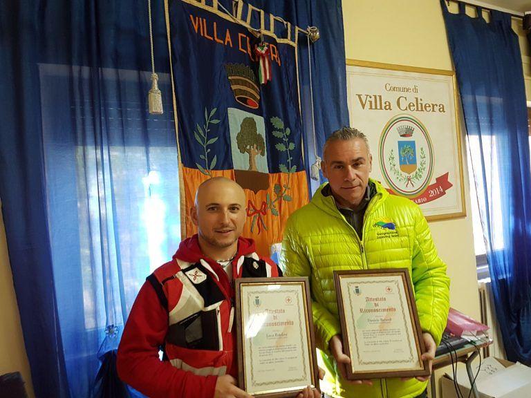 Villa Celiera, premiati due 'eroi' della neve