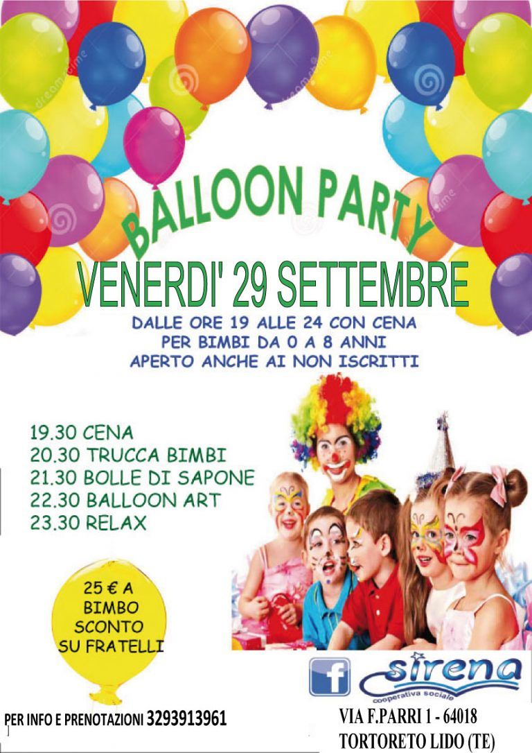 Nido Sirena: tornano le sere Di Cenerentola con Ballon Party venerdì 30 settembre| Tortoreto