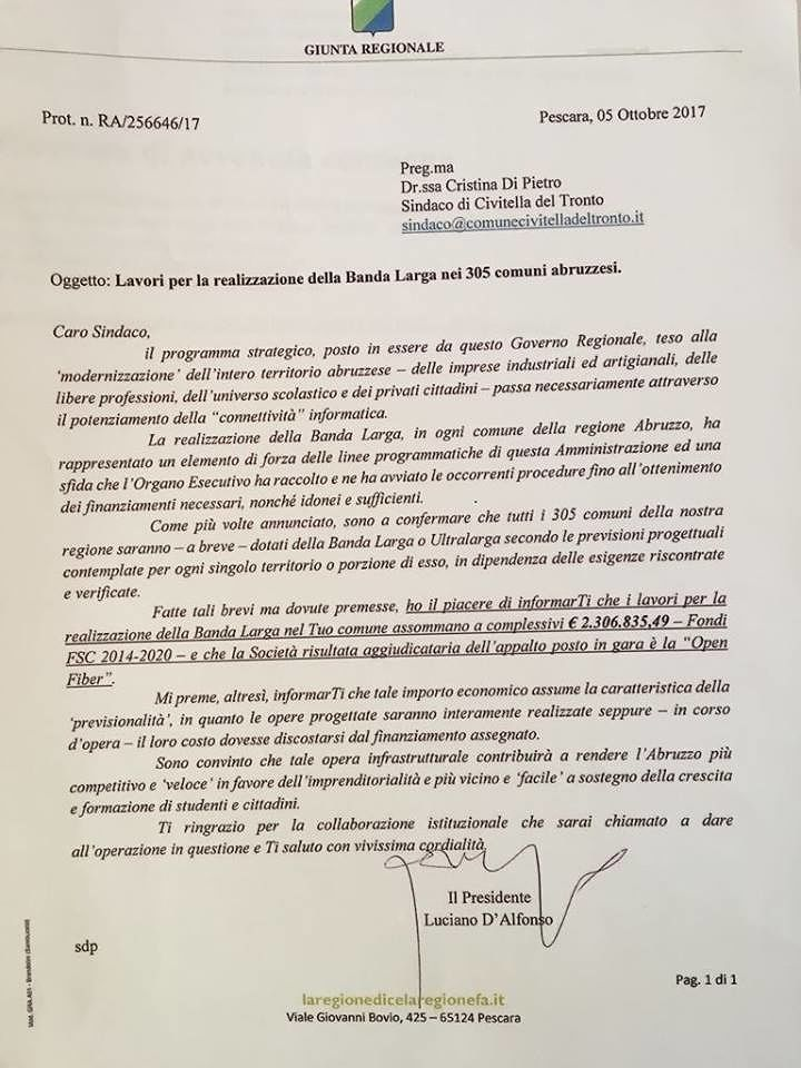 Civitella del Tronto, investimento da 2 milioni per la banda larga