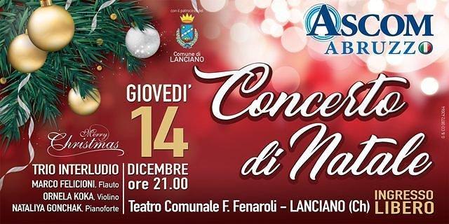 Lanciano, concerto di Natale al Fenaroli a cura di Ascom Abruzzo