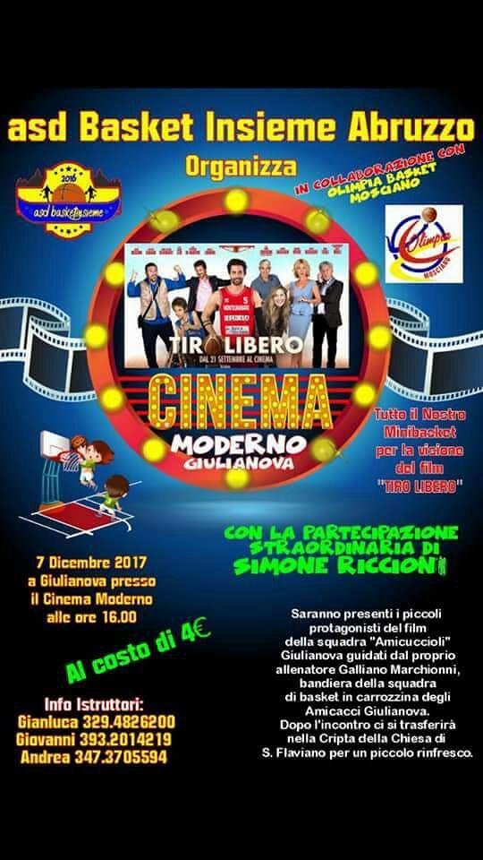 Giulianova, festa del minibasket con il film 'Tiro Libero' e i protagonisti dell'Amicuccioli