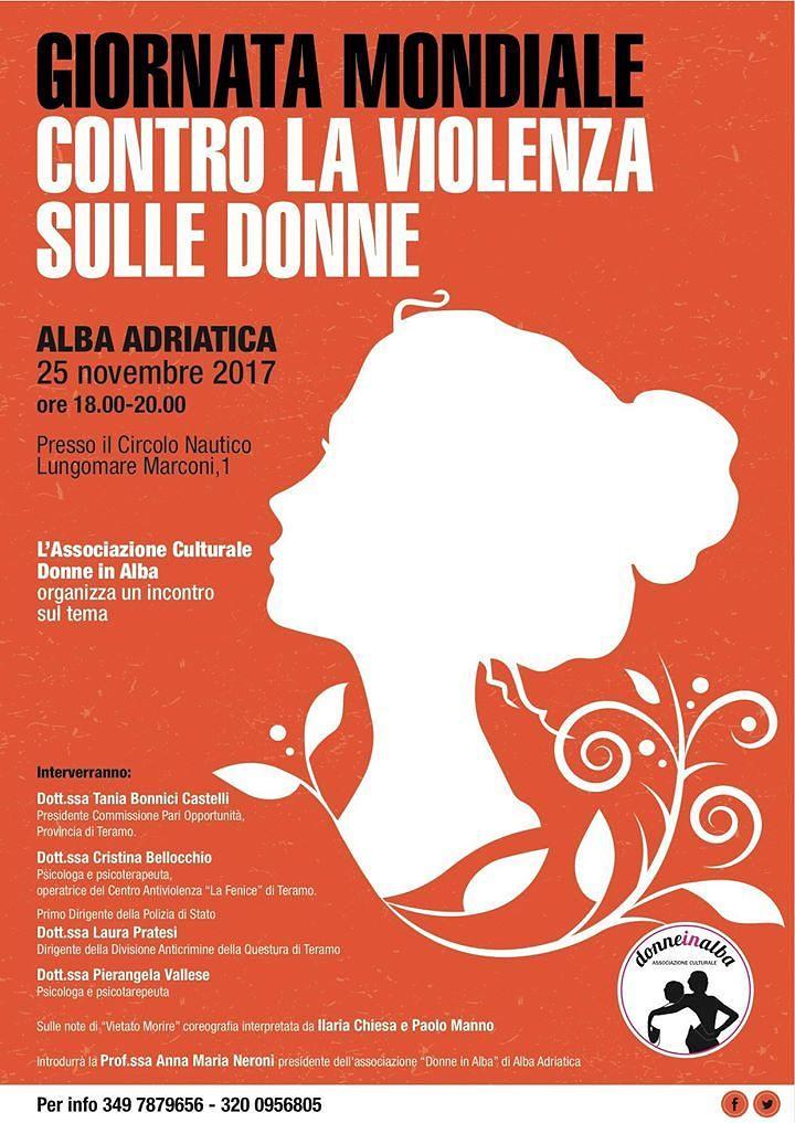 """Alba Adriatica, l'iniziativa di """"donne in alba"""" nella giornata contro la violenza di genere"""