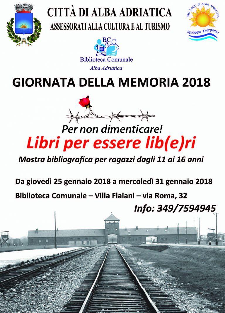 Alba Adriatica, Giornata della Memoria: gli appuntamenti in biblioteca