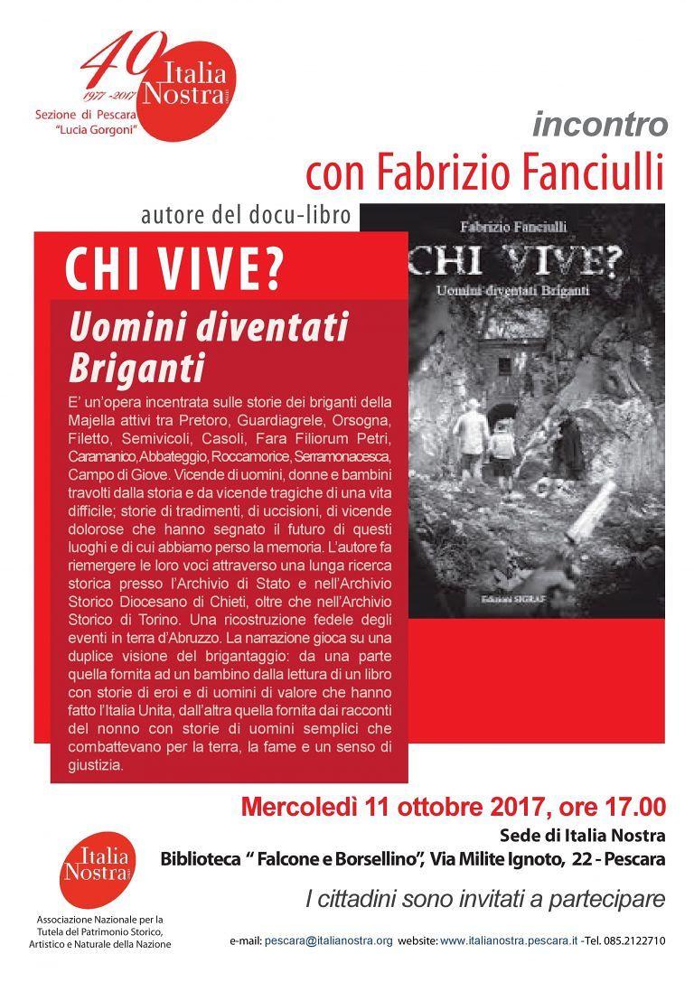 Pescara, le storie dei briganti raccontate nel libro di Fabrizio Fanciulli
