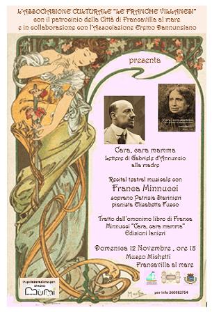 """Francavilla, Franca Minnucci ospite del Museo Michetti con il recital """"Cara, cara mamma"""""""