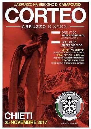 Chieti: 'Abruzzo risorgi', CasaPound Italia in corteo