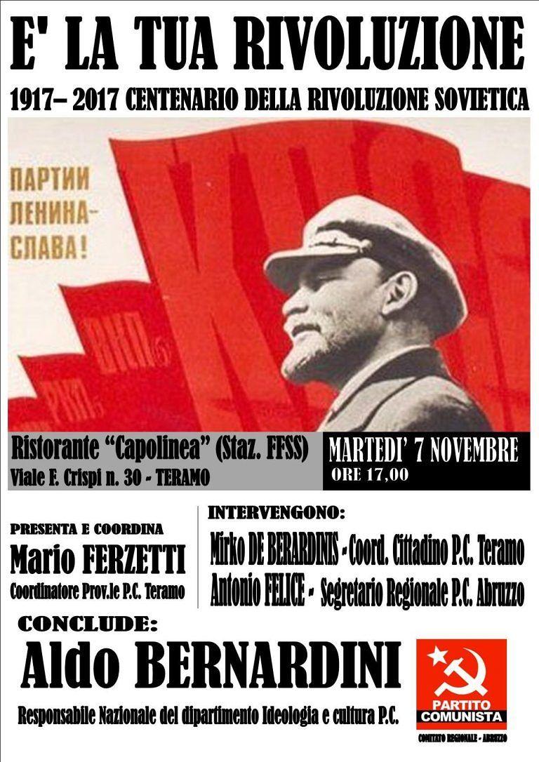 Teramo, manifestazione per il centenario della Rivoluzione d'Ottobre