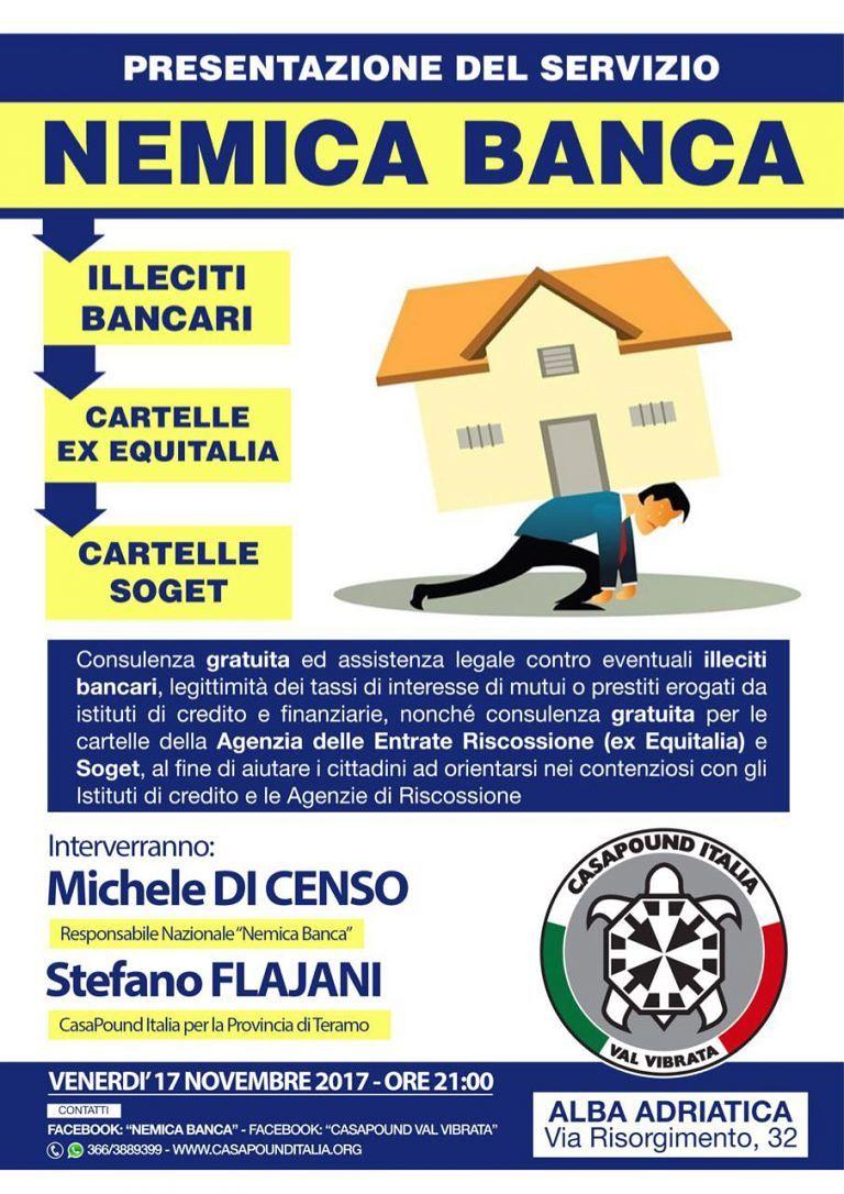 """Alba Adriatica, """"nemica banca"""": la presentazione dello sportello gratuito"""